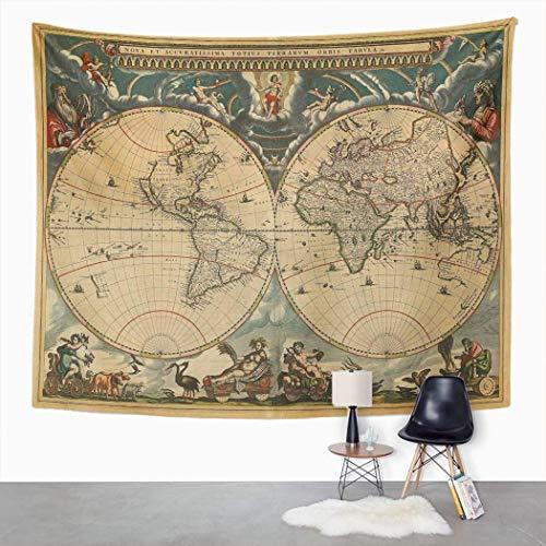 Tapiz vintage, diseño de mapa antiguo de geografía histórica del mundo antiguo grungy hogar dormitorio decorativo, manta ancha para colgar en la pared para sala de estar, dormitorio, 203 x 152 cm