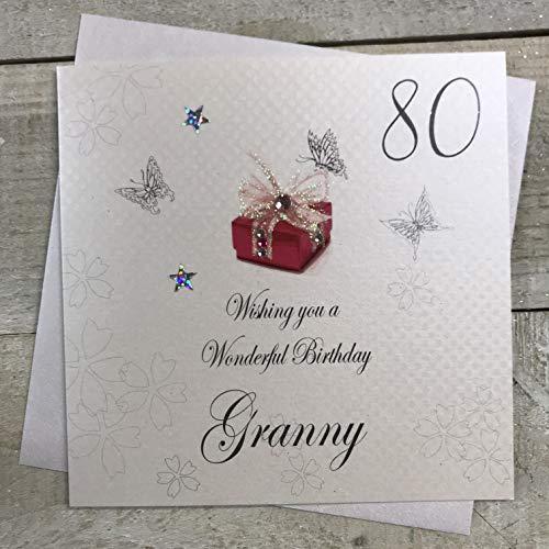 witte katoenen kaarten 80 Wensen u een prachtige, handgemaakte verjaardagskaart (oma, 80e)
