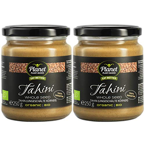 Planet Plant-Based Bio Tahin 2er Pack (2 x 250g) - 100% Geröstete Ganze Sesamsaaten Als Sesampaste - Tahini Sesammus Ohne Zusatzstoffe, Vegan, Glutenfrei, Natürlich Und Wunderbar Cremig