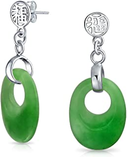 Dyed Green Jade Asian Style Chinese Good Fortune Cut Out Circle Round Dangle Earrings For Women 925 Sterling Silver