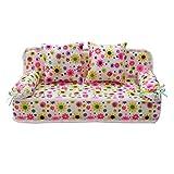 sgerste miniatura muebles sofá sofá con 2cojines para casa de muñecas Barbie (rosa flores)