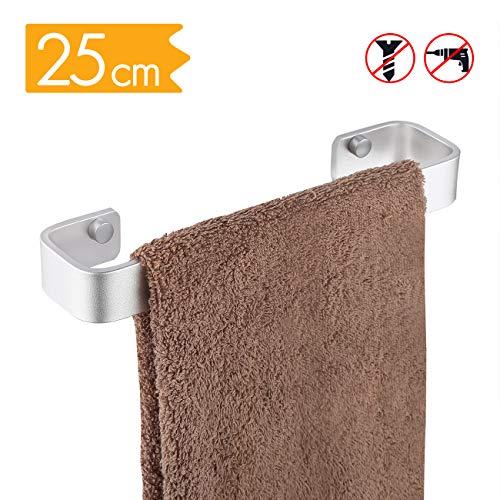 KES A4300-P Handtuchhalter aus Aluminium zum Aufhängen an der Wand ohne Bohren, A4300S25DG-20190412, silber, 25 CM