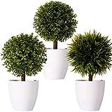 FagusHome 8' Künstliche Pflanzen Topf Künstliche Buchsbaum Topiary Baum Künstliche Kugel geformte Baum gefälschte frische grüne Gras Blume in weißen Plastiktopf für Wohnkultur - 3er-Set (B)