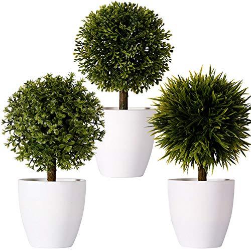 FagusHome 20cm Hoch Künstliche Pflanzen im Topf 3 Stücke künstlichen Buchsbaum Topiary Baum kleinen Kunstpflanzen in weißen Plastiktopf (B)