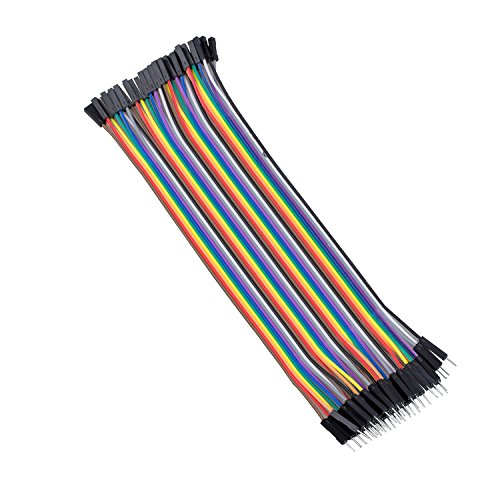 Cikuso 40 Stueck 1 Pin Stecker auf Buchse Bruecker-Kabel 20cm lang