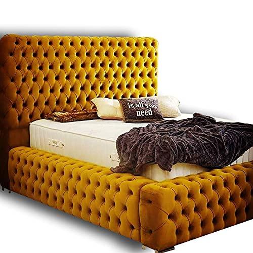 Windermere - Cama doble y colchón incluido | Marco de cama de tela de felpa con colchón ortopédico premium | Marco de cama doble 229 cm de largo x 186 cm de ancho x 122 cm de alto