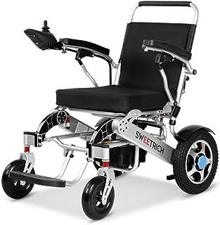 silla de ruedas eléctrica, Ligera, Plegable, portátil, de Doble Motor, Manual o batería de Iones de Litio eléctrico, hasta 35 km para Personas discapacitadas