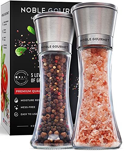 Salt & Pepper Grinder Set of 2 - Refillable Mills & Shakers - For Pink Himalayan & Sea Salt, Black Peppercorn, Spices - Stainless Steel, Large Glass -...