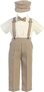 Lito G825/G829 Boys Special Occasion Black/Charcoal/Khaki Suspender Pants with Hat (Long/Short Sleeve) (Khaki, 3T)
