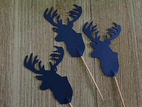 Large Deer Head Cupcake Toppers - Navy Blue Deer Food Picks - Party Picks - Lumberjack Appetizer Picks - Hunter Party - Buck - Stag - Baby Boy Shower (Set of 12)