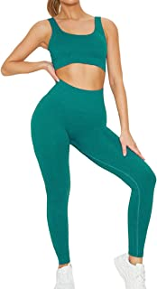 Jetjoy Exercise Outfits for Women 2 Pieces Ribbed Seamless Yoga Outfits Sports Bra and Leggings Set Tracksuits 2 Piece, De...
