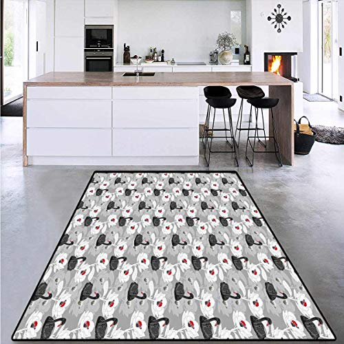 Swan, Door Mats for Inside, Artistic Pond with Big Flourishing Flowers and Black Swans Symbols of Tenderness, Area Rug Anti Slip Pad 6'6' x 10' Black Grey Red