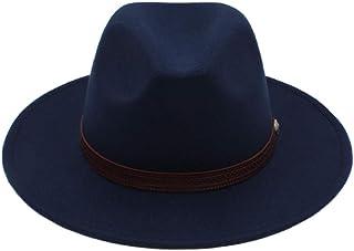 JAUROUXIYUJIN New Autumn Winter Sun Hat Women Men Fedora Hat Classical Wide Brim Felt Floppy Cloche Cap Chapeau Imitation Wool Cap (Color : Blue, Size : 56-58CM)