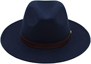 HaiNing Zheng Autumn Winter Sun Hat Women Men Fedora Hat Classical Wide Brim Felt Floppy Cloche Cap Chapeau Imitation Wool Cap