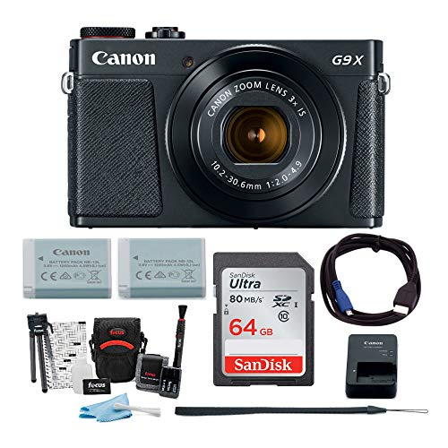 Canon Powershot G9 X Mark II Digital Camera with 64GB Memory Card, Extra Battery for NB-13L, Camera Case, Memory Card Wallet and Accessory Bundle