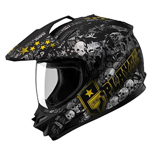 Casque moto hommes et femmes cross country casque tirer casque racing locomotive casque intégral (Couleur : B-XXL61-62CM)