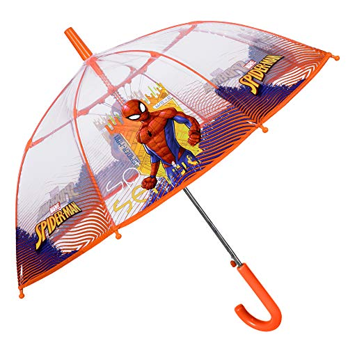 Paraguas Infantil Transparente Spiderman Niño - de Burbuja Estampado Marvel Hombre Araña - Resistente Automatico Antiviento de Fibra de Vidrio - 5/8 Años - Diametro 74 cm - Perletti Kids