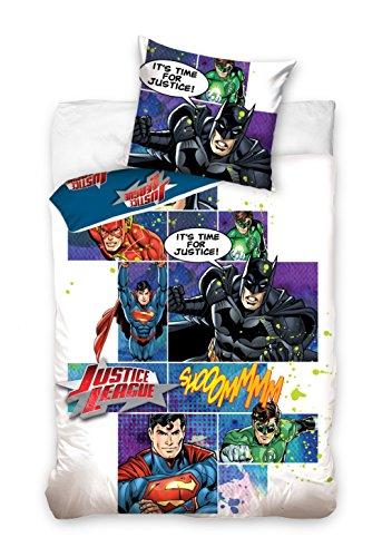 Justice League Bettwäsche, Baumwolle, Mehrfarbig, 160 x 200 + 70 x 80 cm