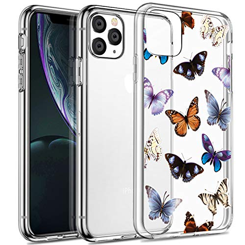 SPEVERT Case Compatible with iPhone 11 Pro Max Case Clear Flower Pattern Printed Design Transparent Hard Back Case with TPU Bumper Cover Case for iPhone 11 Pro Max Case 6.5 inches - Butterfly