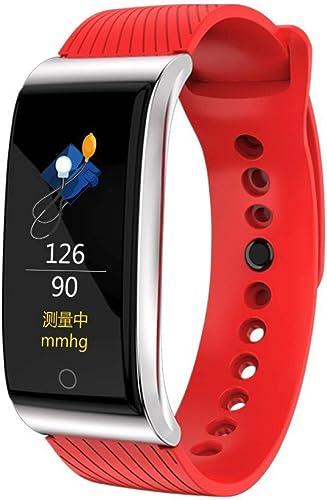 HHRONG Ip67 étanche intelligent Bracelet avec Moniteur De Fréquence voiturediaque Moniteur De Sommeil Fitness Bracelet Bracelets Tracker Podomètre Bracelet De Sport pour Android 5.0 Et iOS-rouge