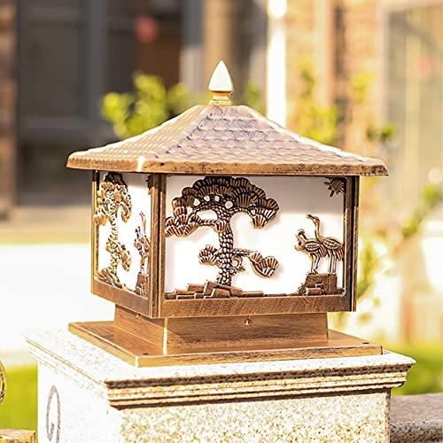 Wylolik Lámpara de columna al aire libre clásica tradicional, poste de la puerta del jardín Patio de la cubierta de la calle Pared superior de la cerca Luz cuadrada Impermeable Patio Camino Iluminació