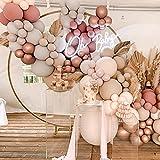 Kit de guirnalda de arco de globo rosa, 110 piezas de bricolaje doble globo rosa polvoriento con rubor Nude Globos de color rosa dorado albaricoque crema melocotón para niñas cumpleaños, baby shower