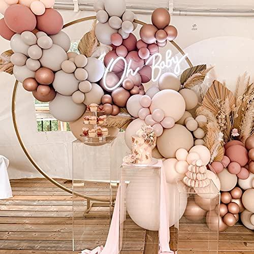 Rosa Ballonbogen Girlande Kit, 110 Stück DIY Doppelter staubiger rosa Ballonbogen mit Blush Nude Balloon Rose Gold Apricot Cream Pfirsichballons für Mädchen Geburtstag, Babyparty, Hochzeit, Brautparty