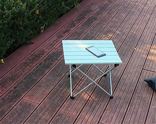 Pkfinrd Draagbare kampeertafel met aluminium tafelblad hardtop opklapbare tafel op picknickkamp strand met eethoek gesneden koken en brander en gemakkelijk schoon te maken [Silver] large
