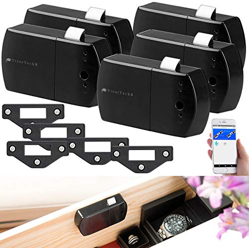VisorTech Riegelschloss: 5er-Set Schubladen- & Schranktüren-Schlösser mit Bluetooth und App (Möbelschloss-Aufschraubschloss)