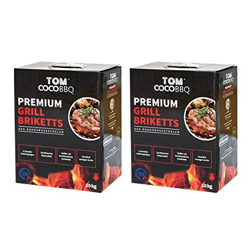 TOM Cococha KS1890 TOM COCO Grill-Kokoskohle Briketts, Quader, 2 x 10 kg (20 kg)