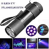 Sisit Lampe de poche ultra-violette UV. Détection de Blacklight 9 LED Torch. Mini lampe de 9 cm pour vérifier les notes, les cartes de crédit, les encres fluorescentes et la verrerie fissurée (Noir)