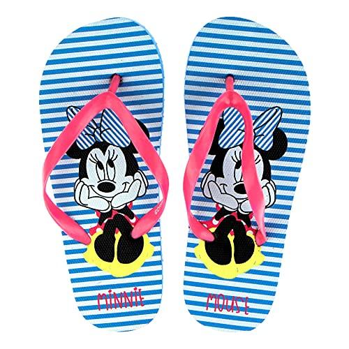 Ciabatte Infradito Bambina Disney Minnie Mouse   Righe Bianche e Celesti   Taglie da 26 a 33 (Striped Blue, numeric_26)