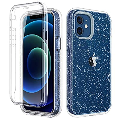 LONTECT Compatible with iPhone 12 Case and iPhone 12 Pro Case 6.1 inch 2020 with Built-in Screen Protector Clear Glitter Sparkly Rugged Shockproof Hybrid Full Body Protective Case Cover