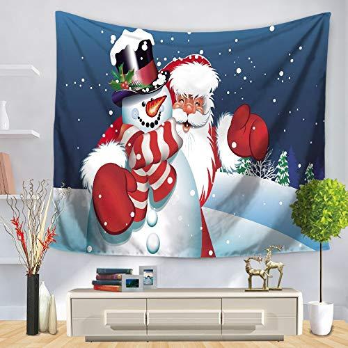 N / A Tapiz navideño Tapiz Colgante de Pared muñeco de Nieve árbol de Navidad Impreso Playa Toalla cojín Tapiz Tela de Fondo A10 150x200cm