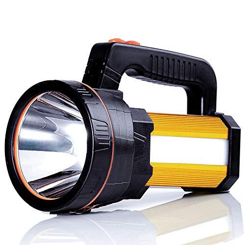 ALFLASH LED Searchlight Rechargeable Handheld Flashlight 7000 Lumens 9000mAh Torch Lantern Waterproof Searchlight Torch Light with 5 Light Model (Gold)