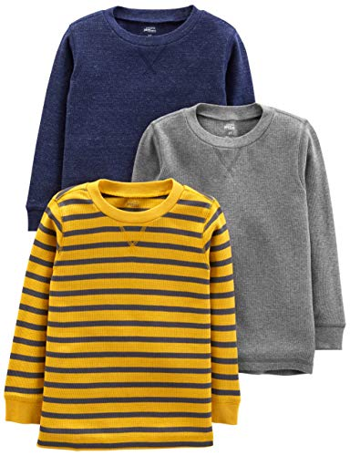 Simple Joys by Carter's 3-Pack Thermal Long Sleeve Shirts T-Shirt Set, Gray/Yellow Stripe/Navy, 3T, Pacco da 3