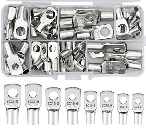 60 Stück Kabelschuhe Verzinnte Bolzenloch Kupferklemmen Ringkabelschuhe Rohrkabelschuhe mit 8 Größe Batterie SC Terminalsatz Quetschkabelschuhe