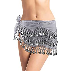 Belly Dance Hip Scarf, Belly Dancing Skirt Coin Sash Costume with Silver Coins