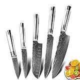Cuchillos cocina juego Cuchillo de cocina CHILE DE CHEFE 7CR17 440C Conjunto de 6 piezas de acero inoxidable de alto carbono Santoku Slicker Pan Cuchilla de carne (Color : B)