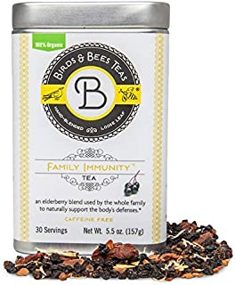 Birds & Bees Teas - Elderberry Tea - Family Immunity Tea is an Immune System Booster with Organic Herbs! Makes A Delicious Sambucus Elderberry Syrup - 30 Servings, 5.5 oz