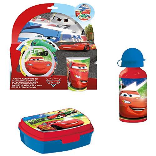 Cars FrühstüCKS-Set für Kinder Kindergeschirr Trinkflasche Brotdose