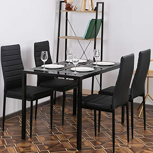 5 Pieces Dining Table Set Kitchen Dining Table w/Tempered Glass Top Table & 4 High Back Upholstered Leather Chairs Bistro Table Set Home Breakfast Compact Rectangular Table for Small Space