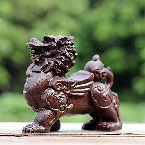 YGB Suerte Un par de estatuas de Qilin/Chi Lin Kylin Feng Shui Chino Decoración de Madera Figura de Prosperidad Buena Suerte Atraer Riqueza Tallada a Mano Hogar y Oficina 1006