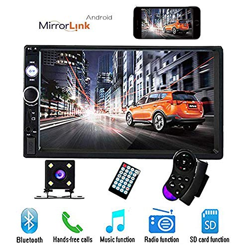 CAMECHO 7' Double Din Car Stereo Audio Bluetooth MP5 Player USB FM Multimedia Radio+ 4 LED Mini Backup Camera with Steering Wheel Remote Support Mobile Phone Synchronization (Only Used in Android)