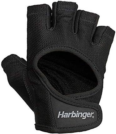 Harbinger - Guantes femeninos para levantar pesas con malla elástica y palma de piel (1 par)