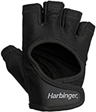 Harbinger Women's Power Weightlifting Gloves with StretchBack Mesh and Leather Palm (1 Pair), Black/Black, Medium (Fits 7 - 7.5 Inches)