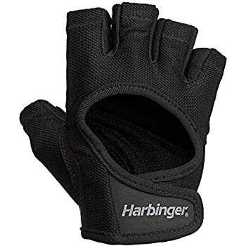 Harbinger Women s Power Workout Weightlifting Gloves with StretchBack Mesh and Leather Palm  1 Pair  Black/Black Medium