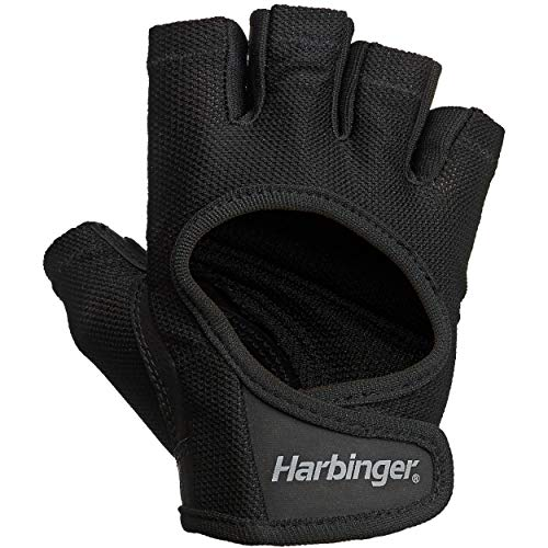 Harbinger Women's Power Weightlifting Gloves with StretchBack Mesh and Leather Palm (1 Pair), Black/Black, Small