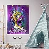 Pintura decorativa Cuadro en lienzo, artista famoso Lisa Simpson, Color, ja, ja, boca, póster e impresiones en la pared, imágenes artísticas para el dormitorio de los niños 60x80cm