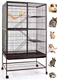 Mcage Extra Large 1/2 Inch Bar Spacing Double Large Front Doors for Feisty Ferret Chinchilla Rat Small Animal Cage with Stand,Black Vein